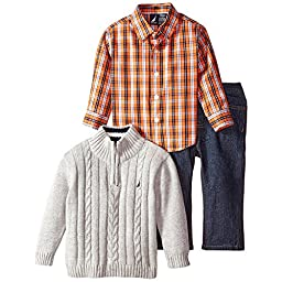 Nautica Baby Boys\' 3 Piece Set Woven Sweater Denim, Grey Heather, 12 Months