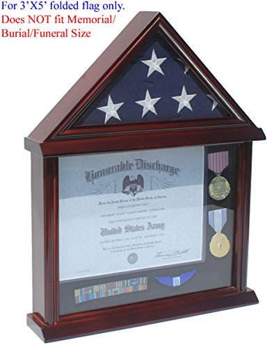 Military Shadow Box 3' X 5' Flag Display Case (NOT for Burial or Funeral size Flag)-Solid Wood, Mahogany Finish (FC11V-MA) (Display Case 3x5 compare prices)