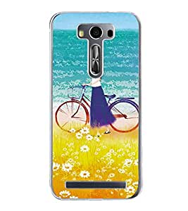 Girl on beach with Cycle 2D Hard Polycarbonate Designer Back Case Cover for Asus Zenfone 2 Laser ZE550KL (5.5 INCHES)