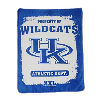 NCAA Kentucky Wildcats Soft Plush Thermal Blanket / Fleece Couch Throw Blue & White