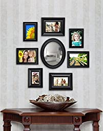 8 Piece Contemporary Black Picture Frame Set with Mirror by Philip Whitney