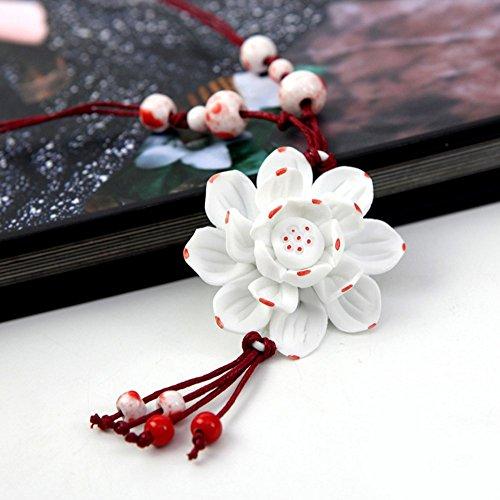 Winter's Secret Handmade Blue And White Porcelain Ceramic Red Lotus Flower Tassels Pendant Necklace (Celtic Knot Bracket compare prices)