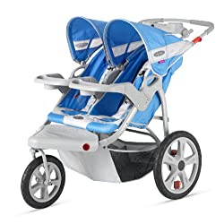 InStep Safari Double Swivel Stroller Blue/Grey