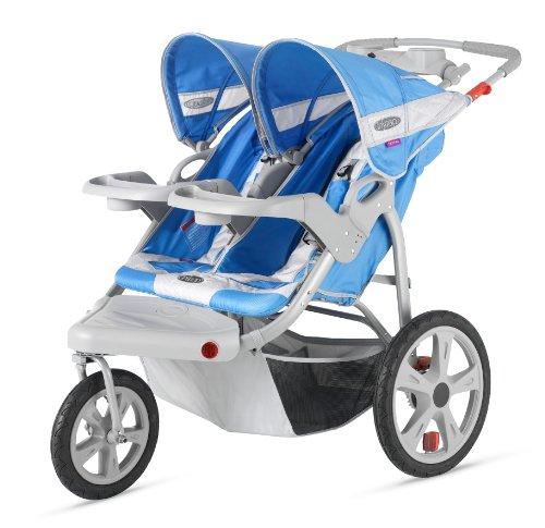 Instep Safari Double Swivel Stroller, Blue/Grey front-27382