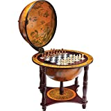 """KasselTM 13"""" Diameter Globe with 57pc Chess and Checkers Set"""