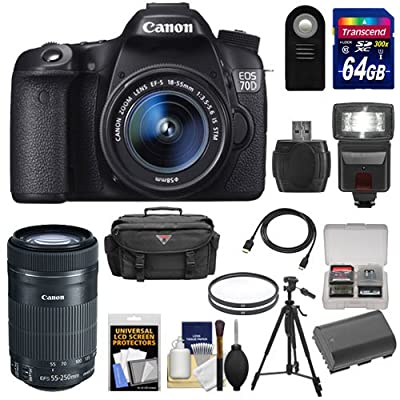 Canon EOS 70D Digital SLR Camera & EF-S 18-55mm IS with 55-250mm IS STM Lens + 64GB Card + Battery + Case + Filters + Flash + Tripod + Kit