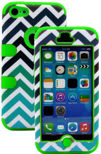 Mylife (Tm) Spring Green + Colorful Chevron Print 3 Layer (Hybrid Flex Gel) Grip Case For New Apple Iphone 5C Touch Phone (External 2 Piece Full Body Defender Armor Rubberized Shell + Internal Gel Fit Silicone Flex Protector + Lifetime Waranty + Sealed In