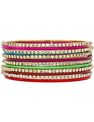 The Luxor Australian Diamond Studded Multicolor Daily Wear Bangles Set For Women