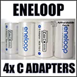 Sanyo Eneloop Spacer Pack: 4 Pack of C-size Adapters [Hassle Free Packaging]