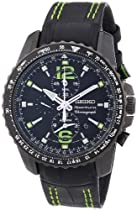 Seiko Gents Black PVD Stainless Steel Chronograph Watch