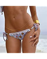 Tinksky Sexy Women's 2 Layers Waist Body Belly Chain Tassels Link Jewelry Decoration Gold (Size 1)