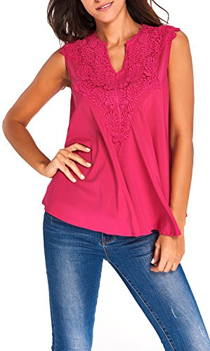 Yonas Women's Off Shoulder Embroidered Applique V Neck Plus Size Blouse Tank Top(SIZE XL/PINK)