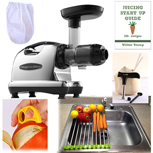 Omega 8006 Juicer + Accessory Pack3! + Folding Drain Rack + Nut Milk Bag + Juicing eBook,recipes + Cocodrill Coconut Tool + Citrus Peeler Nutrition Center (Omega J8006 Screen compare prices)