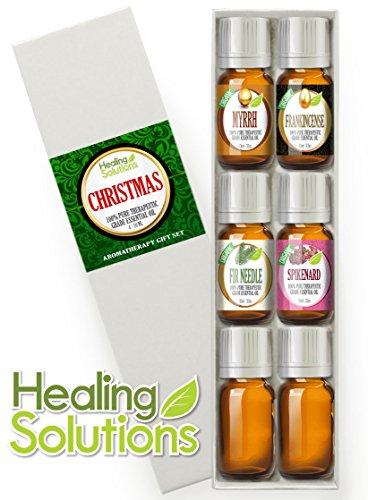 Christmas Essential Oil Gift Set (Organic) 100% Pure, Best Therapeutic Grade Aromatherapy Gift Set - 4/10 Ml (Myrrh, Frankincense, Spikenard, Fir Needle, + 2 Mixing Bottles)