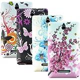 zkiosk 833 Schmetterling Blumen Design Auswahl 1 Silikon Schutzhülle für Sony Xperia E  (4-er Pack) pink/lila/blau/weiß/schwarz