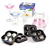 Savvy Ice Silicone Sphere Ice Mold [2 Pack] - Makes 8 Ice Balls - Unique Slow Melting Drink Chillers - Easy Storage Stackable Round Ice Cube Trays - Enjoy Tastier Cocktails & Iced Cold Beverages