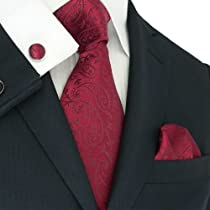 Landisun 29C Burgundy Paisleys Mens Silk Tie Set: Tie+Hanky+Cufflinks Exclusive