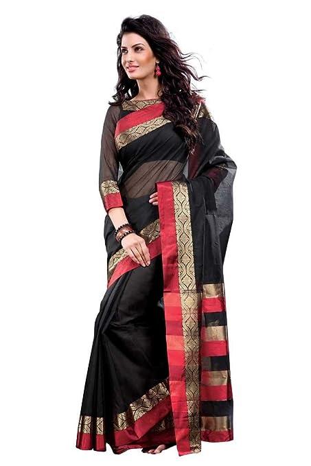ISHIN Cotton Black Sarees MFCS Lara available at Amazon for Rs.1499