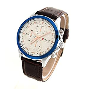 CURREN 8138 Men's Fashionable Water Resistant Wrist Watch with Faux Leather Band-White