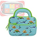Evecase Neoprene Sleeve Protective Case Compatible with Nabi Jr. , Cute Dinosaurs Themed Neoprene Travel Carrying Slim Sleeve Case Bag w/ Dual Handle and Accessory Pocket - Blue w/ Green Trim
