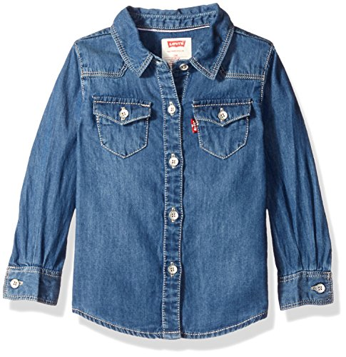 Levi's Girls' Baby Western, Long Sleeve Denim Top, Blue Winds, 3-6 Months
