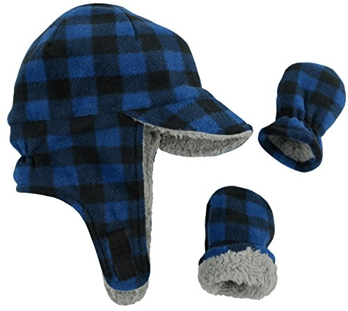 N'Ice Caps Little Boys and Baby Sherpa Lined Fleece Flap Hat Mitten Winter Set (6-18 Months, Royal Buffalo Plaid Infant)