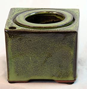 "Square Self Watering Ceramic Pot with Felt Feet - Tropical Green - 4 3/8"" x 3"""