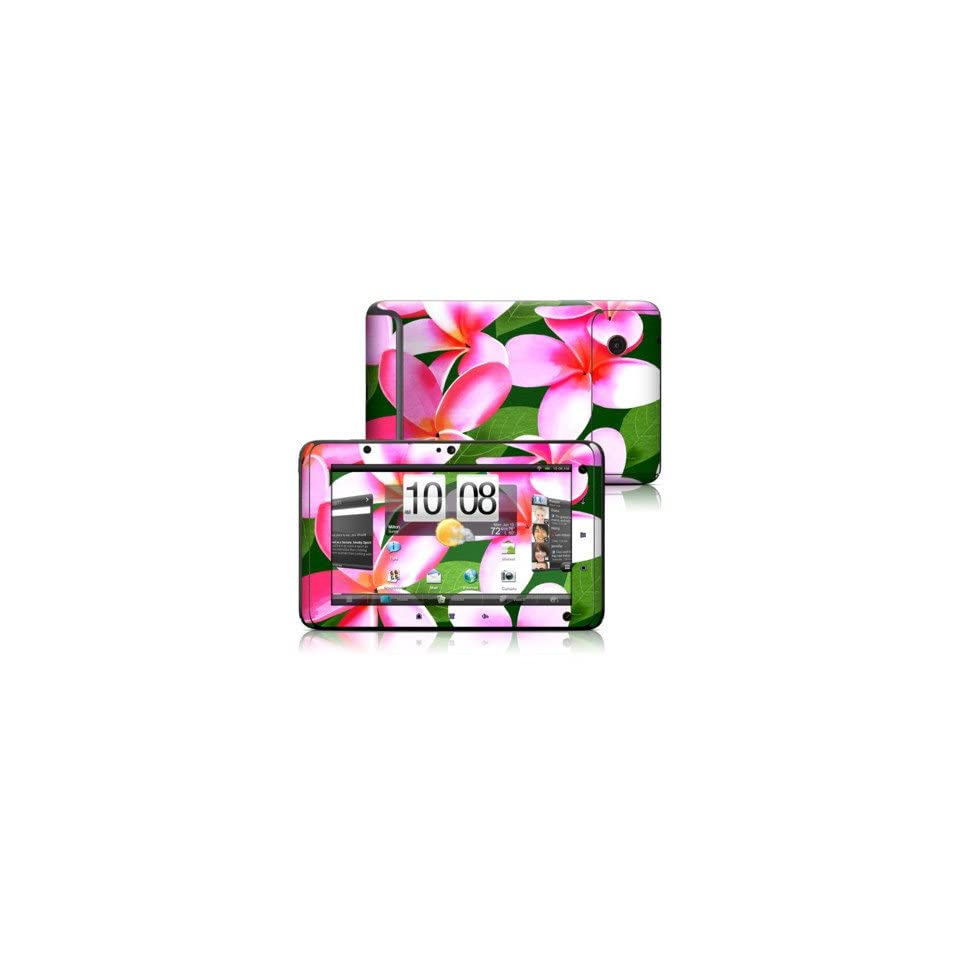 Pink Plumerias Design Protective Decal Skin Sticker for HTC EVO View 4G Tablet E Reader