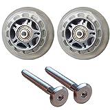 クラシックフライト専用2輪静音ホイール 車輪と専用ボルトセット 交換・修理用代用品 (76mm, クリア&グレイ)