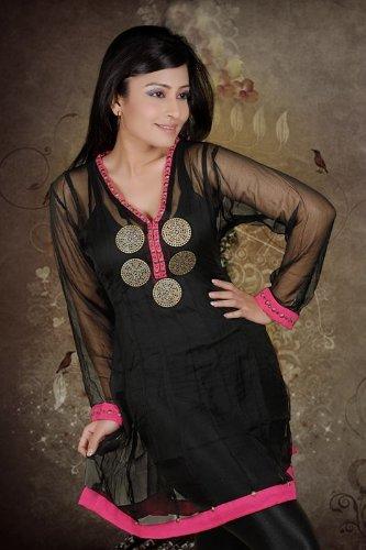 Chiffon metal work ladies / womens long / full sleeve top / tunics / salwar / dresses