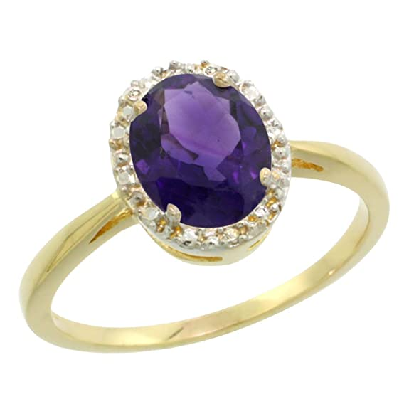 14ct Yellow Gold Natural Amethyst Diamond Halo Ring Oval 8X6mm, sizes J - T