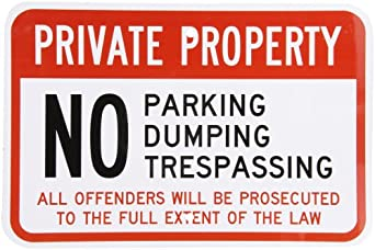 "SmartSign Aluminum Sign, Legend ""Private Property No Parking Dumping Trespassing"", 12"" high x 18"" wide, Black/Red on White"
