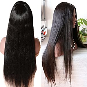 Youth Beauty® Hair 130% Density 100% Unprocessed Virgin Human Hair Wig Light Italian Yaki Straight Lace Front Wig with Baby Hair Around Natural Color 22