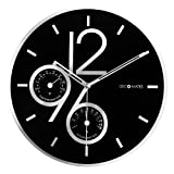 DecoMates Non-Ticking Silent Wall Clock with Built-In Thermometer Fahrenheit/Hygrometer, Sharp Shimmer Multiplex...
