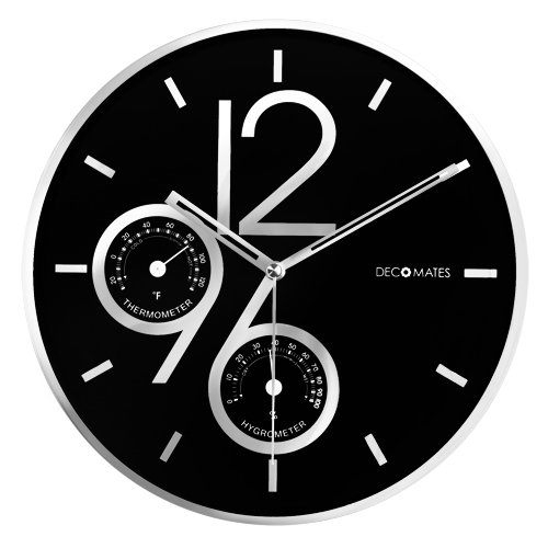 DecoMates Non-Ticking Silent Wall Clock with Built-In Thermometer Fahrenheit/Hygrometer, Sharp Shimmer Multiplex, Black