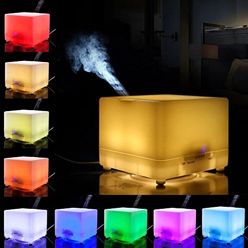 ★700ml★ Aromatherapy Essential Oil Diffuser Cool Mist Ultrasonic Air Humidifier Air Purifier 4 Timer Settings 7 LED Colors 12 Hours Continuous Mist Mode Running, AUTO Shut off, up to 60sqm coverage