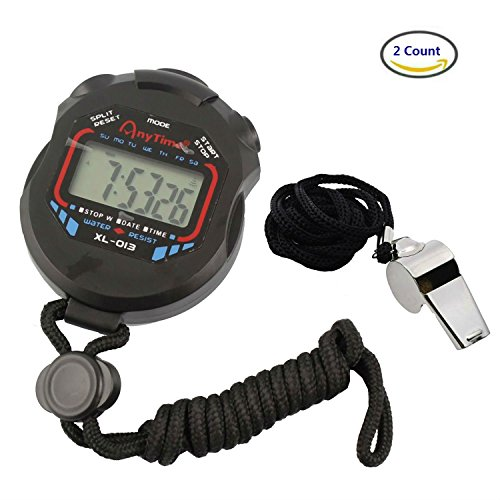 Akak Store Sports and Referee Digital Stopwatch Timer /W Bonus Stainless Steel Coach Whistle with Lanyard (Whistle Timer compare prices)