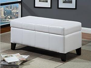 Modus Furniture 2E0393 Urban Seating Storage Bench, White Leatherette