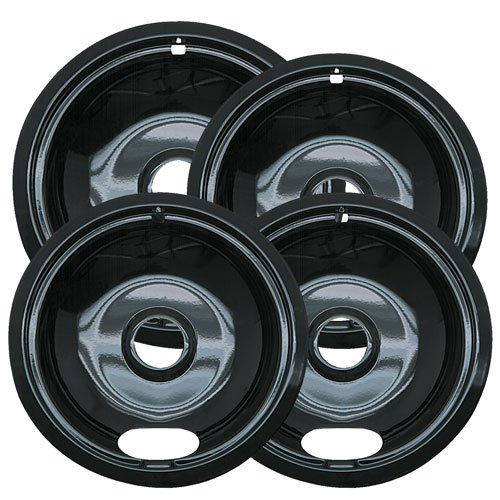 Range Kleen P10124XZ Porcelain Universal Set Of 4 Containing 3 Units P101, 1 Unit P102, Black (Small Oven Drip Pans compare prices)