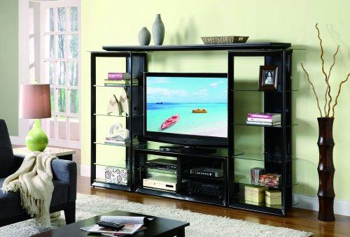 Cheap Stand Wall Unit Tv Media Tower Bridge Black (B008W1B0LW)