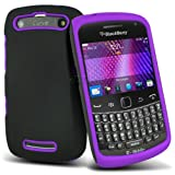 (Purple) Blackberry 9360 Curve Mega Protective Hybrid Silicone Shock Proof Case Cover Skin & 3 LCD Screen Protector Guard By *Aventus*