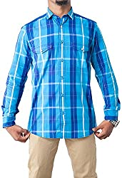 Passion Men's Slim Fit Casual Shirt (FS5046SBLFS, Blue, Small)