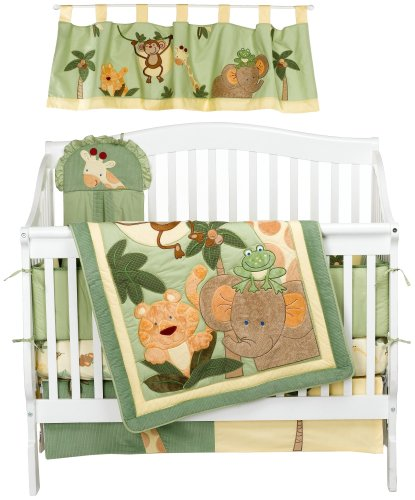 baby bedding nojo jungle babies 6 piece crib bedding set. Black Bedroom Furniture Sets. Home Design Ideas