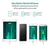 Portable Charger RAVPower 22000mAh 5.8A Output 3-Port Power Bank External Battery Pack (2.4A Input, Triple iSmart 2.0 USB Ports, High-density Li-polymer Battery) For iPhone 7, 7 Plus and more- Black