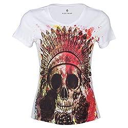 Huetrap Women's Tribe Meets Skull Print T-Shirt