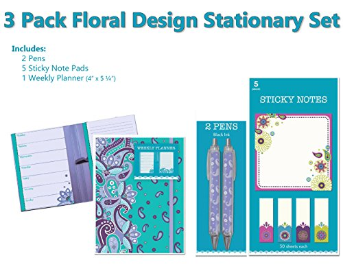 Assorted 3 Pack Set of Elegant Floral Design Stationary Desk Accessories Trio Set: Weekly Planner, Pack of Sticky Notes and Pack of Pens Elegant Desk Accessories
