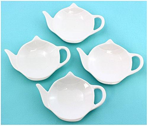 Set of White Porcelain Ceramic Teapot-Shaped Tea Bag Coasters, Spoon Rests; 4-Pack Classic Tea Time Saucer Set (White Porcelain Spoon compare prices)