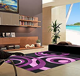 Homemusthaves-Hand Carved Vegas Rug Rugs Carpet New Circle Purple (2X8)