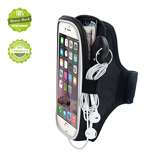 EOTW iPhone6/6S plusランニング アームバンド ウォーキング ジョギング ケース ヘッドフォンホルダー付 iPhone6/6S plus、iPhone7プラス、 Galaxy S7edge/Note5、 Xperia Z4/Z5等大画面スマホ用 ファッショナブル スマホ アームバンド ポーチ 収納ポケット付 (黒(5.5インチ))