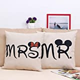 E-sunshine® Cotton Blend Linen Square Throw Pillow Cover Decorative Cushion Case Pillow Case 18 X 18 Inches / 45 X 45 cm, Disney (Mickey & Minnie)